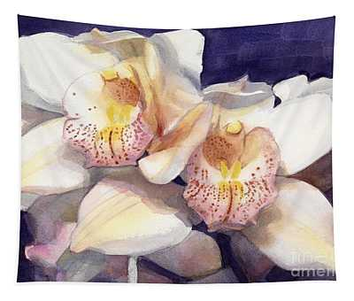 White Orchids Watercolor Tapestry
