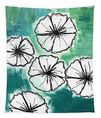 White Petunias- Floral Abstract Painting Tapestry