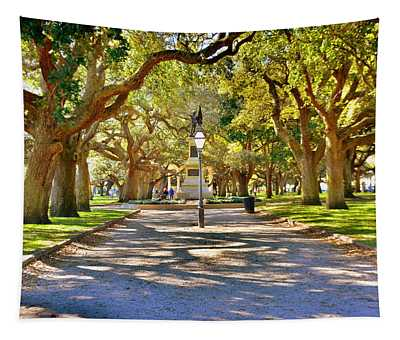 White Point Gardens At Battery Park Charleston Sc Hdr Tapestry