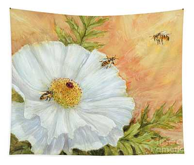White Poppy And Bees Tapestry