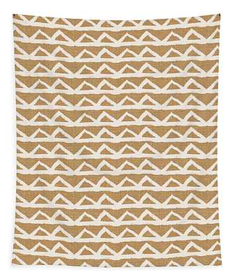 White Triangles On Burlap Tapestry