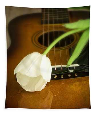 White Tulip Flower And Guitar Tapestry