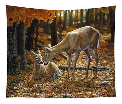 Whitetail Deer - Autumn Innocence 2 Tapestry