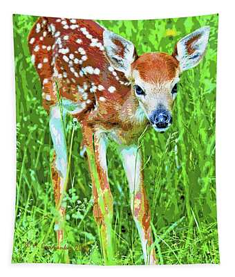 Whitetailed Deer Fawn Digital Image Tapestry