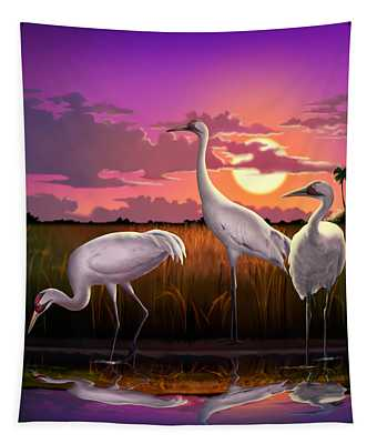 Whooping Cranes At Sunset Tropical Landscape - Square Format Tapestry