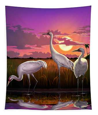 Whooping Cranes Tropical Florida Everglades Sunset Birds Landscape Scene Purple Pink Print Tapestry
