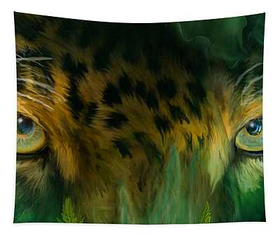 Tapestry featuring the mixed media Wild Eyes - Jaguar by Carol Cavalaris