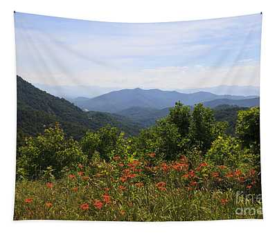 Wild Lilies With A Mountain View Tapestry