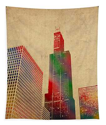 Willis Sears Tower Chicago Illinois Watercolor On Worn Canvas Series Tapestry