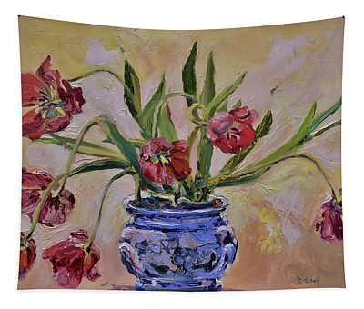 Wilting Tulips Tapestry