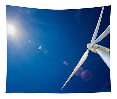 Wind Turbine And Sun  Tapestry