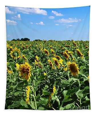 Windblown Sunflowers Tapestry