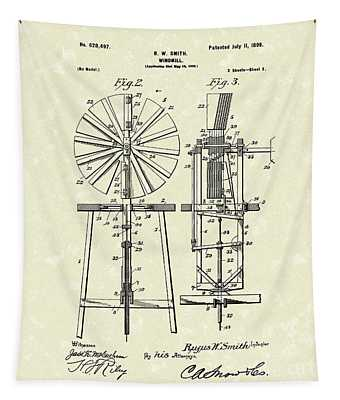 Windmill 1899 Patent Art Tapestry by Prior Art Design