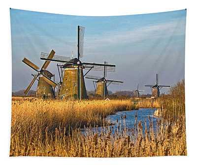 Windmills And Reeds Near Kinderdijk Tapestry