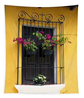 Window At Old Antigua Guatemala Tapestry