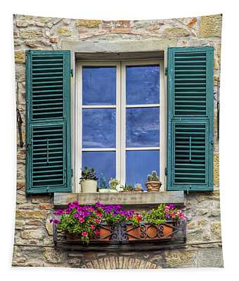 Window Of Tuscany With Green Wood Shutters Tapestry