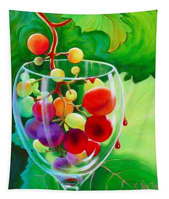 Tapestry featuring the painting Wine On The Vine IIi by Sandi Whetzel