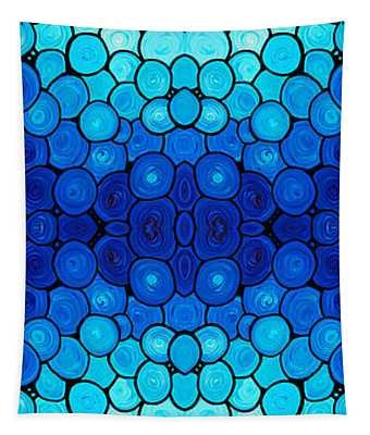 Winter Lights - Blue Mosaic Art By Sharon Cummings Tapestry