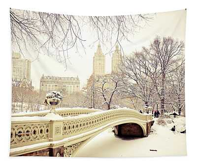 New York Snow Photographs Wall Tapestries