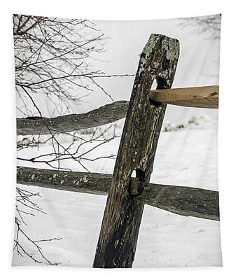 Winter Rail Fence Tapestry