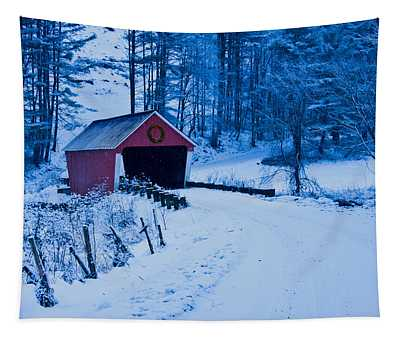 winter Vermont covered bridge Tapestry
