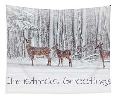 Winter Visits Card Tapestry