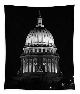 Wisconsin State Capitol Building At Night Black And White Tapestry