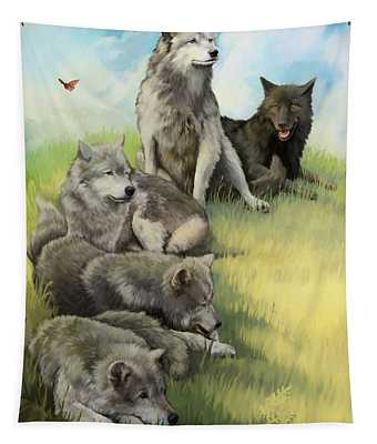 Wolf Gathering Lazy Tapestry