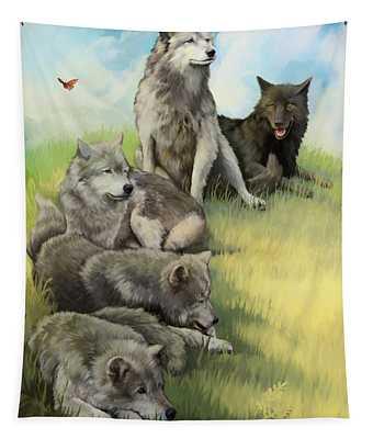 Wolf Gathering Lazy Tapestry