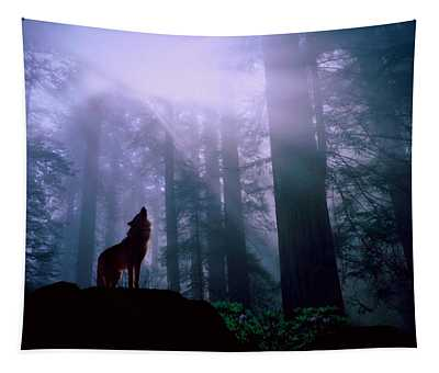 Wolf In The Woods Tapestry