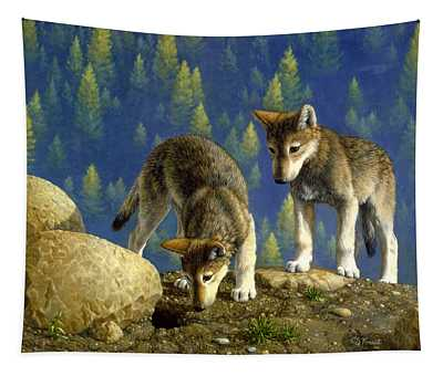 Wolf Pups - Anybody Home Tapestry