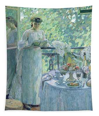 Woman On A Balcony  Tapestry