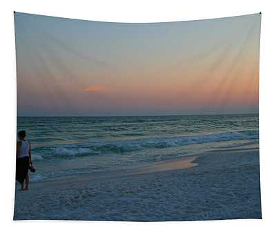 Woman On Beach At Dusk Tapestry