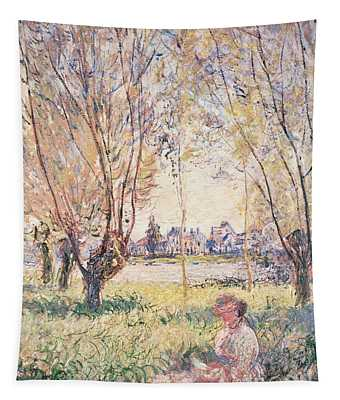 Woman Seated Under The Willows Tapestry