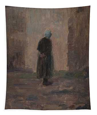 Woman Seen From Behind Standing Before A Wall  Tapestry