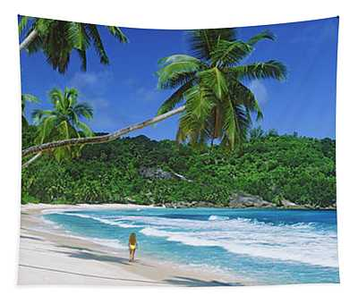 Woman Walking On The Beach, Anse Tapestry
