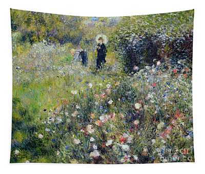 Woman With A Parasol In A Garden, 1875 Tapestry