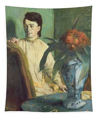 Woman With The Oriental Vase Tapestry