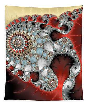 Wonderful Abstract Fractal Spirals Red Grey Yellow And Light Blue Tapestry