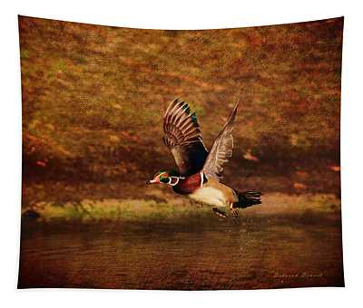 Wood Duck Taking Off Tapestry