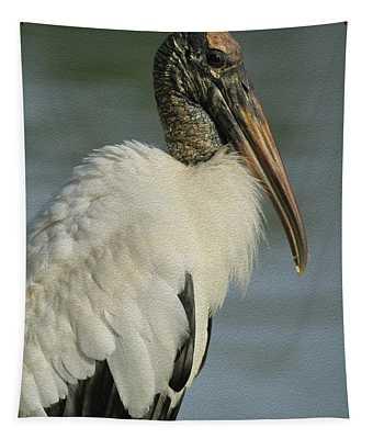 Wood Stork In Oil Tapestry