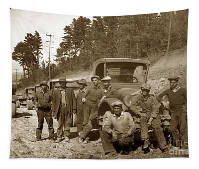 Workers On Highway One Monterey Carmel Hill California 1929 Tapestry