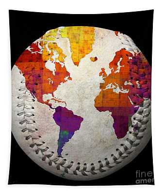 World Map - Rainbow Bliss Baseball Square Tapestry