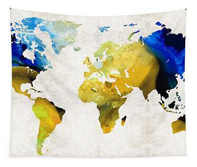 World Map 16 - Yellow And Blue Art By Sharon Cummings Tapestry