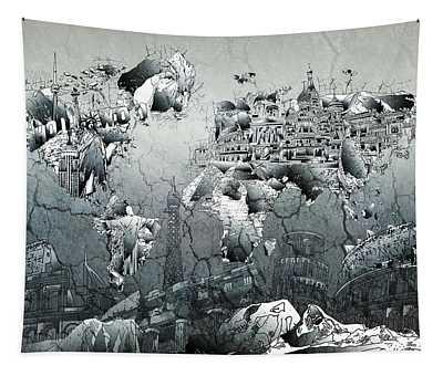 World Map Grunge Landmarks Tapestry