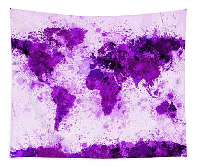 World Map Paint Splashes Purple Tapestry