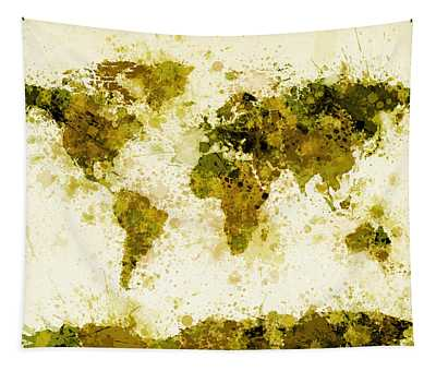 World Map Paint Splashes Yellow Tapestry