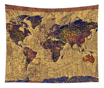 World Map Vintage Tapestry