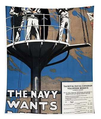 World War I 1914 1918 Canadian Recruitment Poster For The Royal Canadian Navy  Tapestry