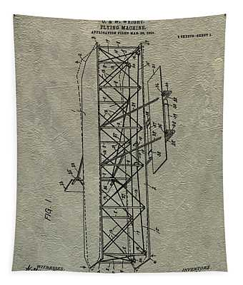 Wright Brothers Airplane Patent Tapestry